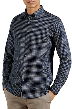 Ted Baker Cotton Blend Geo Print Shirt