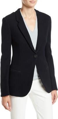 Emporio Armani Waffle-Pattern One-Button Pure Cotton Jersey Blazer