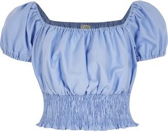 River Island Girls Blue puff sleeve shirred crop top
