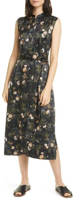 Vince Rose Field Sleeveless Popover Midi Dress