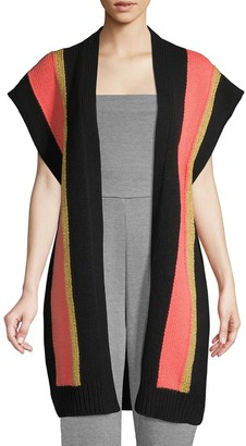 M Missoni Oversized Striped Short-Sleeve Cardigan Sweater