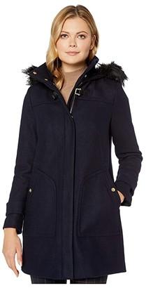 Cole Haan Wool Twill Hooded Duffle Coat w/ Faux Fur Trim (Midnight) Women's Coat