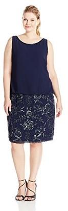 Adrianna Papell Women's Plus-Size Sleeveless Beaded Blouson Cocktail Dress