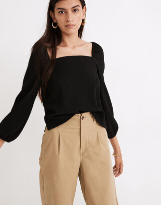 Madewell Crepe Square-Neck Puff-Sleeve Top