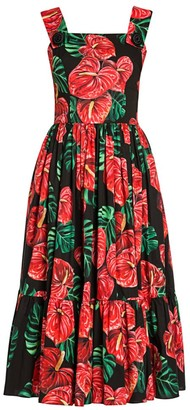 Dolce & Gabbana Tropical Floral-Print Poplin Apron Dress