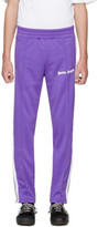 Palm Angels Purple and White Logo Track Pants