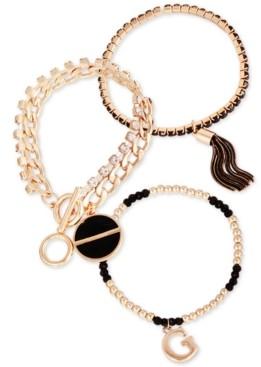 GUESS Gold-Tone 3-Pc. Set Jet Crystal, Bead & Chain Tassel Bracelets