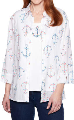 Alfred Dunner Smooth Sailings Womens Collar Neck 3/4 Sleeve Blouse-Petite