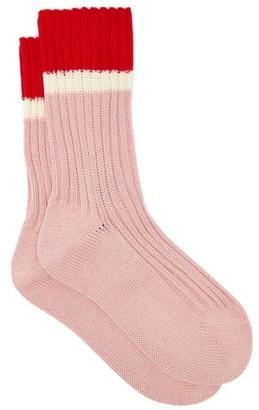 Prada Striped Rib-knitted Stretch-cotton Socks - Pink Multi