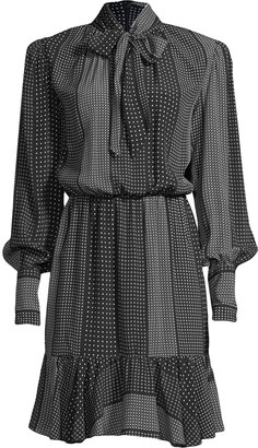 Nicole Miller Kaleidostripe flounce dress