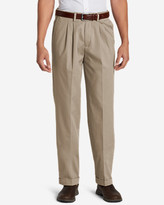 Eddie Bauer Men's Performance Dress Comfort Waist Pleated Khaki Pants - Relaxed Fit