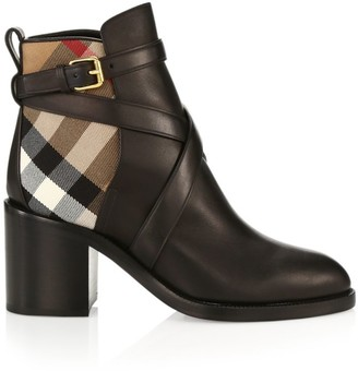 Burberry Pryle House Check Leather Ankle Boots