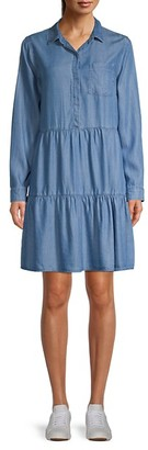 Pure Navy Tiered Chambray Shirtdress