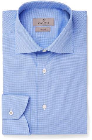 Canali Blue Cutaway-Collar Puppytooth Stretch Cotton-Blend Shirt