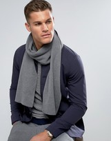 Selected Leth Scarf In Grey