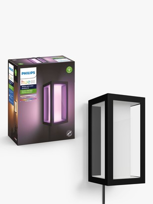 Philips Hue White and Colour Ambiance Impress LED Plug In Outdoor Wall Light Extension, Black