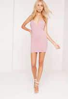 Missguided Petite Exclusive Scuba Strappy Bodycon Dress Lilac