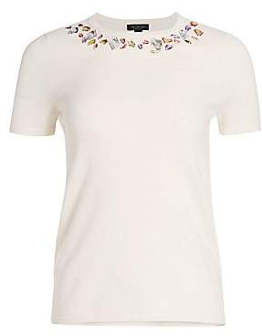 Saks Fifth Avenue Women's Collection Cashmere Embellished Short Sleeve Sweater