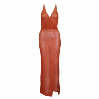 DISSA Women Orange Solid Sleeveless Sheath Dress Perspective Slip Dress Sexy Bodycon Maxi Dresses Party Cocktail Business D2480a 10