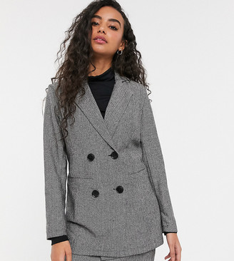 Parisian Petite tailored longline double breasted blazer in grey