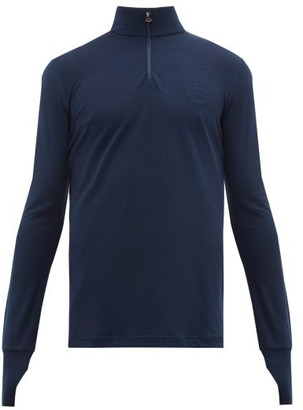 Iffley Road Thorpe Quarter-zip Merino Wool Top - Mens - Navy