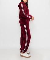 Kimberly C Women's Casual Pants Burgundy - Burgundy & White Double-Stripe Teddy Fleece Zip-Up Hoodie & Joggers - Women