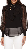 Bisou Bisou Long-Sleeve Ruffled Top