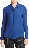 Elie Tahari Yvette Piped Silk Blouse