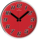 "Oliver Hemming Wall Clock with Bold Number Dial - Red (12"")"