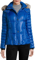 Andrew Marc Aubrey Fur-Trim Puffer Coat w/ Removable Hood, Cobalt