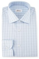 Brioni Glen-Plaid Check Dress Shirt, Light Blue