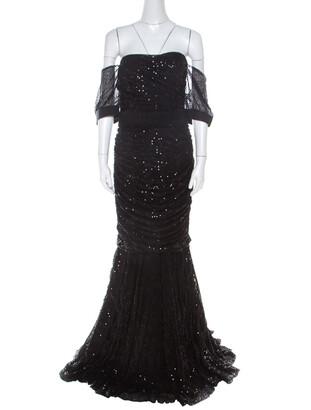 Dolce & Gabbana Black Embellished Tulle Ruched Off Shoulder Gown L