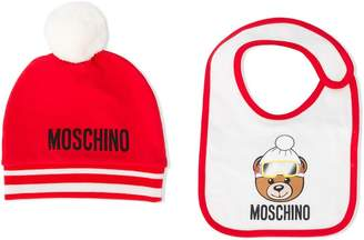 Moschino Kids logo print beanie and bib