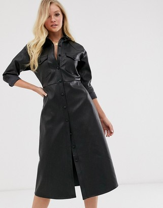 Neon Rose midi shirt dress in faux leather