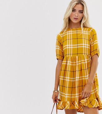 Wednesday's Girl mini dress in oversized check print-Orange