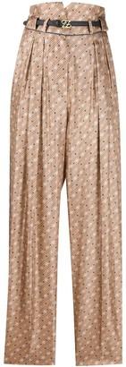 Fendi Ff Logo Silk Belted Pants