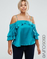 Asos Off The Shoulder Top in Satin with Ruffle Sleeve