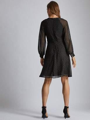 Dorothy Perkins Dobby Chiffon Midi Dress - Black