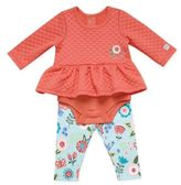 Boppy 2-Piece Long Sleeve Bodysuit Dress and Legging Set in Coral