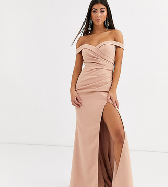 Jarlo Petite bardot maxi dress with sweetheart plunge in cream