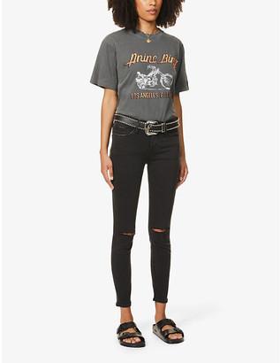 Frame Ladies Black Cotton Ripped Le Skinny De Jeanne Mid-Rise Jeans, Size: 24