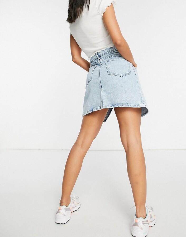 Thumbnail for your product : Monki Amalie organic cotton cross over denim mini skirt in bleach wash