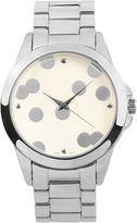 Journee Collection Womens Polka-Dot Dial Stainless Steel Bracelet Watch