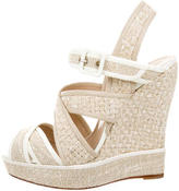 Oscar de la Renta Leather-Trimmed Crossover Wedges