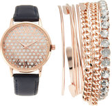 jessica carlyle ST1771RG427 Rose Gold-Tone & Navy Watch & Bangle Set