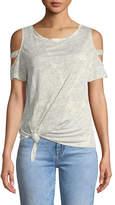 Generation Love Kendall Crewneck Cold-Shoulder Linen Top