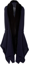 Oday Shakar Cashmere Knit Caftan Cardigan With Mink Collar