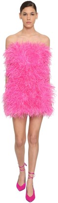 ATTICO Strapless Feather Embellished Mini Dress