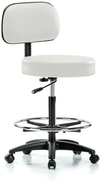 Perch Chairs & Stools Height Adjustable Exam Stool with Basic Backrest and Foot Ring Perch Chairs & Stools Color: Adobe White Vinyl