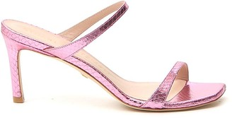 Stuart Weitzman Metallic Square Toe Sandals